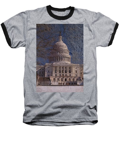 United States Capitol Baseball T-Shirt by Skip Willits