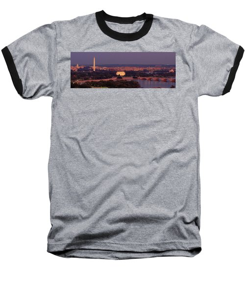 Usa, Washington Dc, Aerial, Night Baseball T-Shirt by Panoramic Images