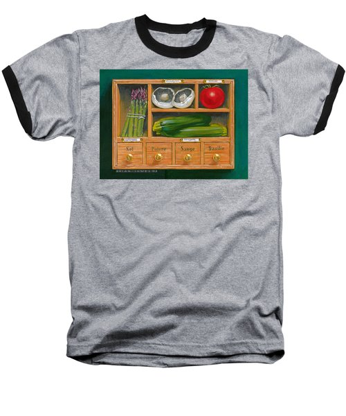 Vegetable Shelf Baseball T-Shirt by Brian James