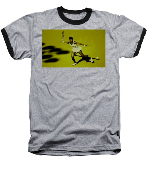 Venus Williams In Action Baseball T-Shirt by Brian Reaves