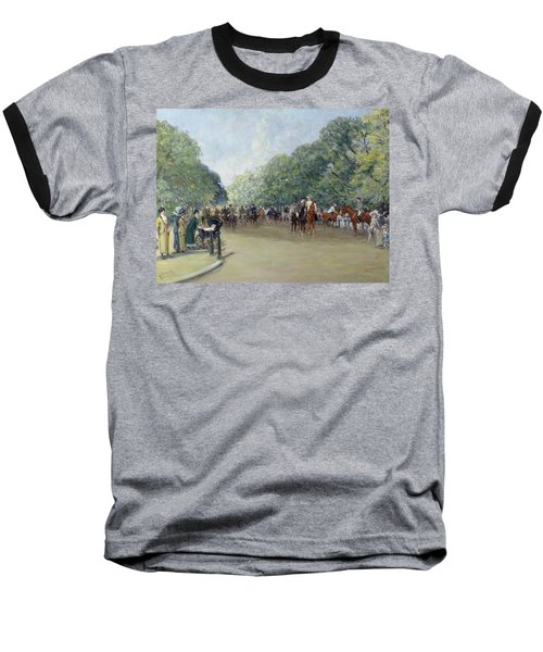 View Of Hyde Park With Figures On Rotten Row  Baseball T-Shirt by Albert Jnr Ludovici