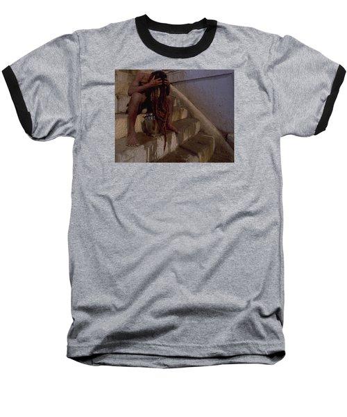 Baseball T-Shirt featuring the photograph Varanasi Hair Wash by Travel Pics