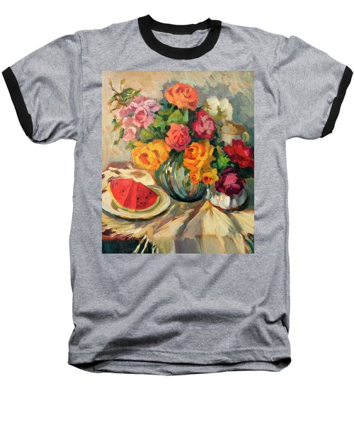Watermelon And Roses Baseball T-Shirt by Diane McClary