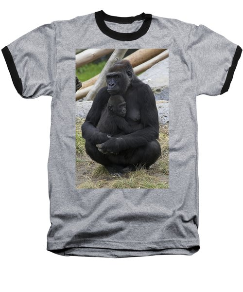 Western Lowland Gorilla Mother And Baby Baseball T-Shirt by San Diego Zoo