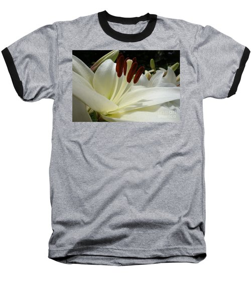 White Asiatic Lily Baseball T-Shirt by Jacqueline Athmann