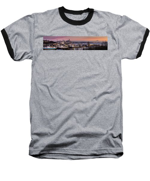 Wider Seattle Skyline And Rainier At Sunset From Magnolia Baseball T-Shirt by Mike Reid