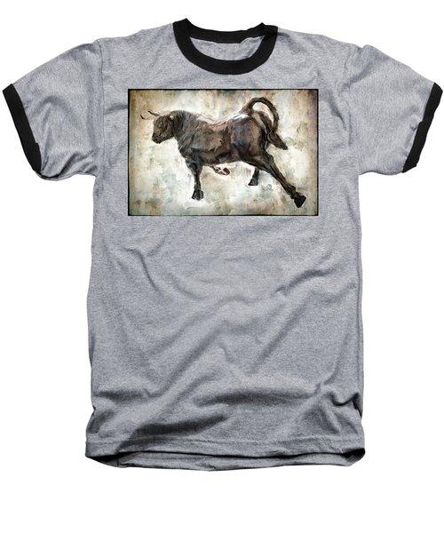 Wild Raging Bull Baseball T-Shirt by Daniel Hagerman
