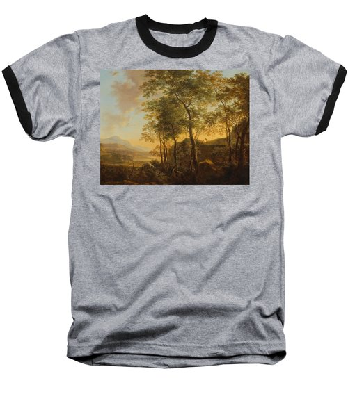 Wooded Hillside With A Vista Baseball T-Shirt by Jan Both