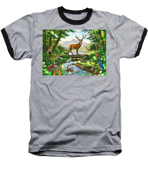 Woodland Harmony Baseball T-Shirt by Chris Heitt