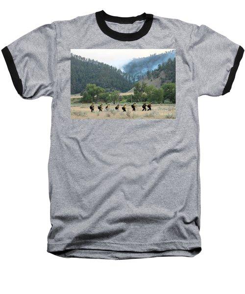 Baseball T-Shirt featuring the photograph Wyoming Hot Shots Walk To Their Assignment by Bill Gabbert