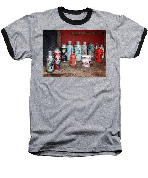 Yak Butter Thermoses Baseball T-Shirt by Joan Carroll