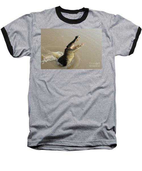 Salt Water Crocodile 2 Baseball T-Shirt by Bob Christopher