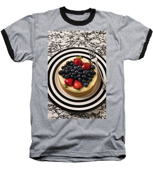 Cheese Cake On Black And White Plate Baseball T-Shirt by Garry Gay