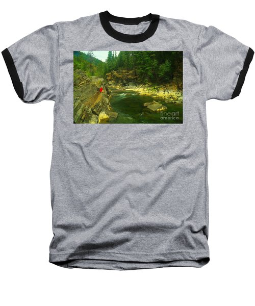 Cliff Over The Yak River Baseball T-Shirt by Jeff Swan