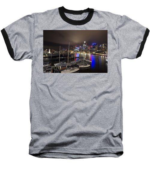 Darling Harbor Sydney Skyline 2 Baseball T-Shirt by Douglas Barnard