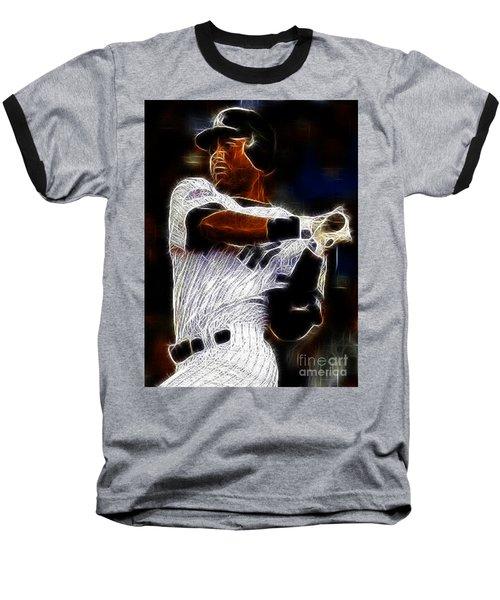 Derek Jeter New York Yankee Baseball T-Shirt by Paul Ward