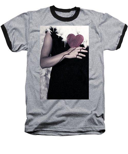 Lady With Blood And Heart Baseball T-Shirt by Joana Kruse