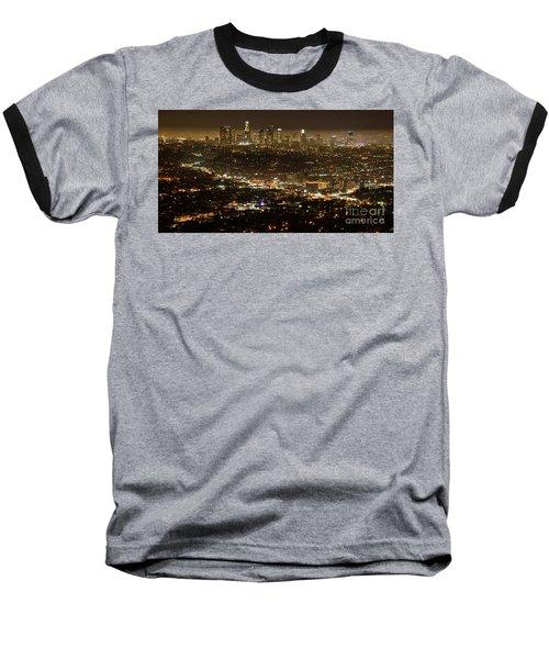 Los Angeles  City View At Night  Baseball T-Shirt by Bob Christopher