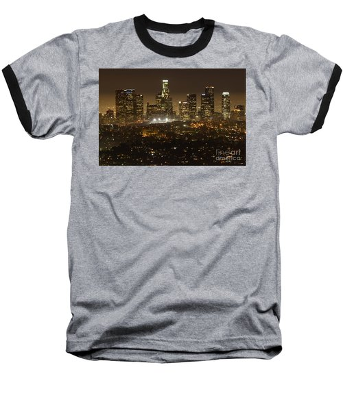 Los Angeles Skyline At Night Baseball T-Shirt by Bob Christopher