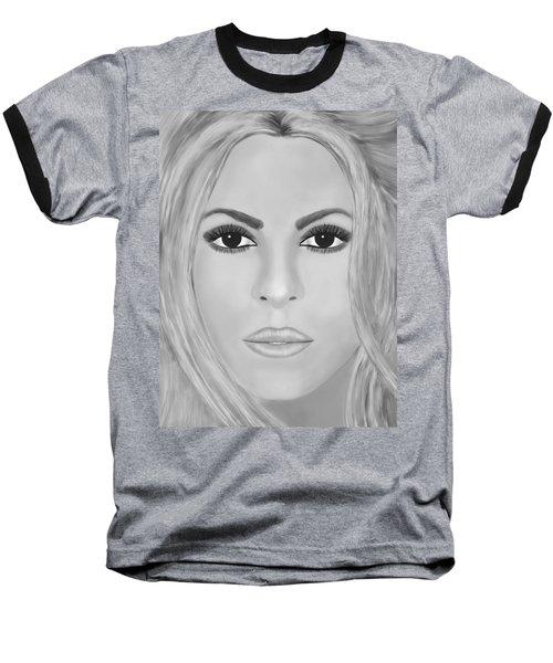 Shakira Black And White Baseball T-Shirt by Mathieu Lalonde