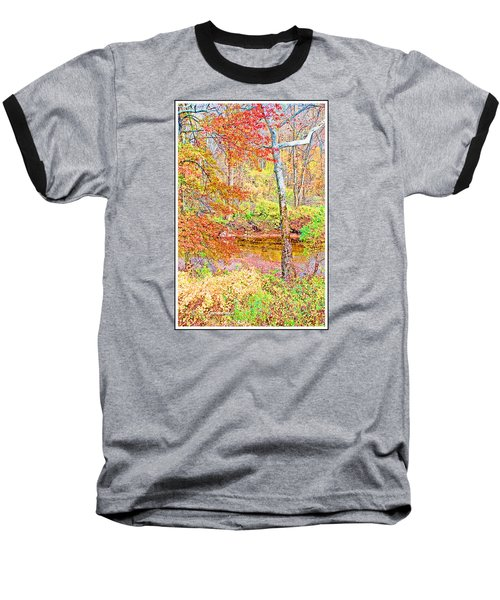 Baseball T-Shirt featuring the photograph  Woods In Autumn Montgomery Cty Pennsylvania by A Gurmankin