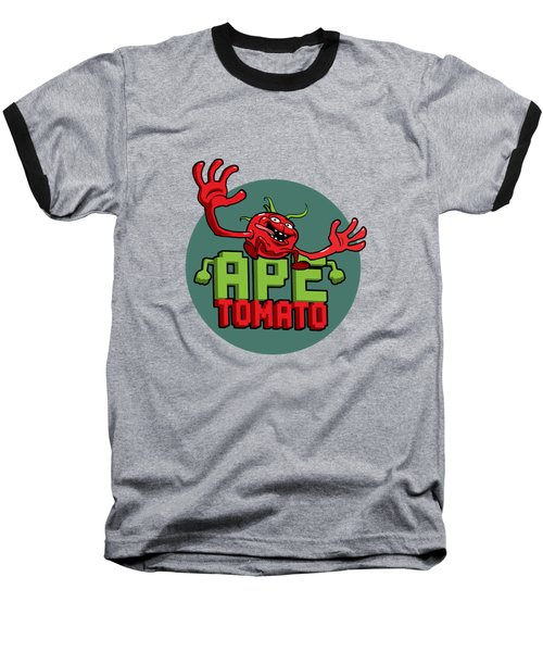 Ape Tomato Grey Green Baseball T-Shirt by Nicolas Palmer