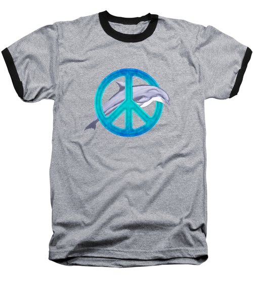 Dolphin Peace Baseball T-Shirt by Chris MacDonald
