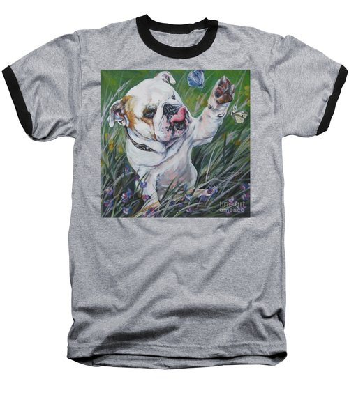 English Bulldog Baseball T-Shirt by Lee Ann Shepard