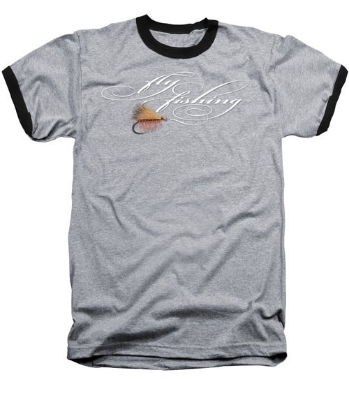 Fly Fishing Elk Hair Caddis Baseball T-Shirt by Rob Corsetti