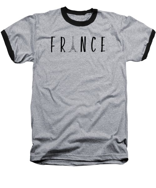 France Typography Panoramic Baseball T-Shirt by Melanie Viola