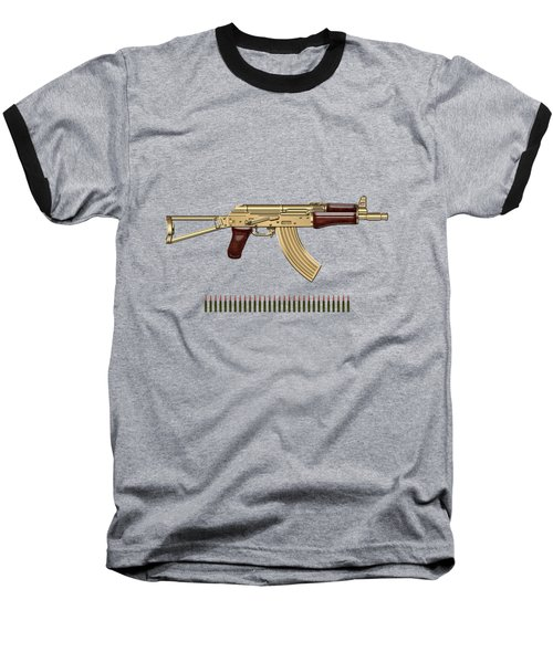 Gold A K S-74 U Assault Rifle With 5.45x39 Rounds Over Red Velvet   Baseball T-Shirt by Serge Averbukh