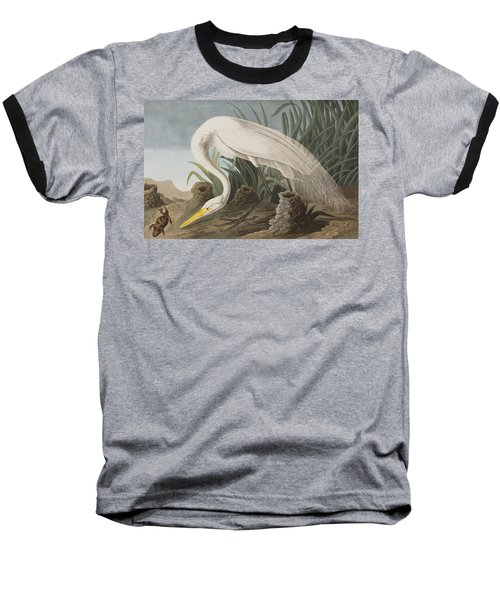 Great Egret Baseball T-Shirt by John James Audubon