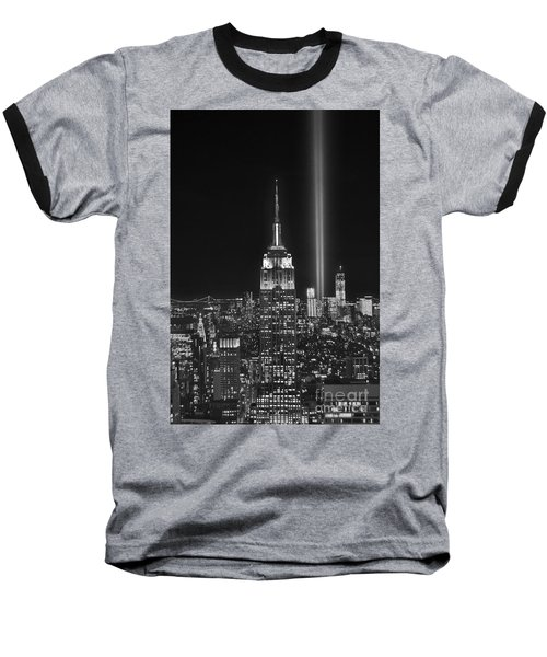 New York City Tribute In Lights Empire State Building Manhattan At Night Nyc Baseball T-Shirt by Jon Holiday