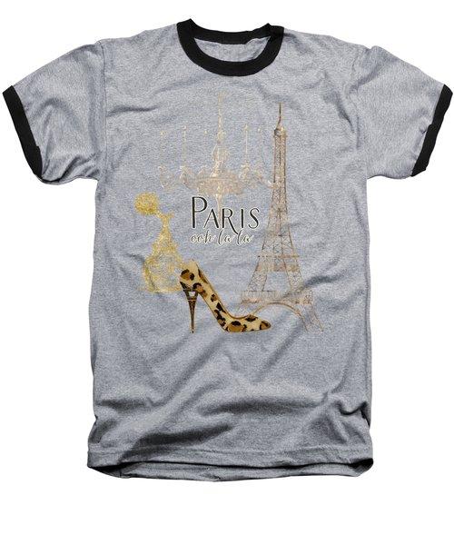 Paris - Ooh La La Fashion Eiffel Tower Chandelier Perfume Bottle Baseball T-Shirt by Audrey Jeanne Roberts