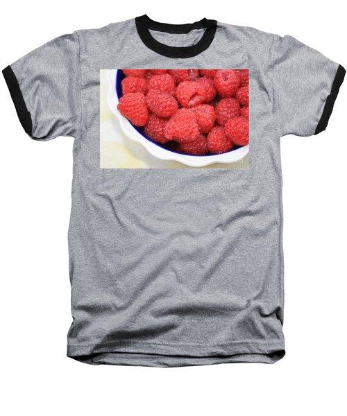 Raspberries In Polish Pottery Bowl Baseball T-Shirt by Carol Groenen