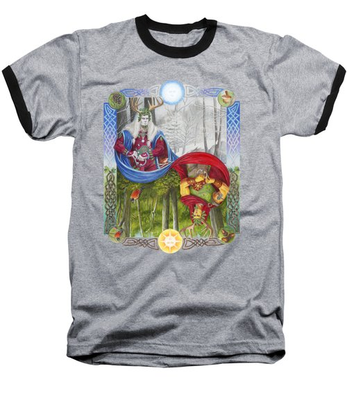 The Holly King And The Oak King Baseball T-Shirt by Melissa A Benson