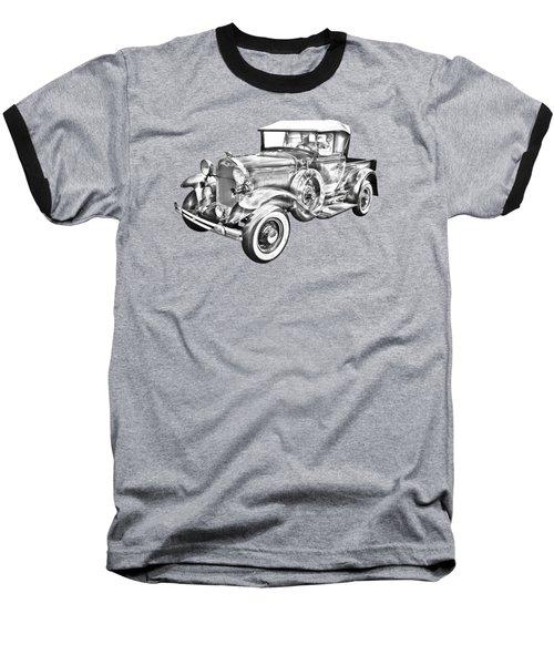 1930 Ford Model A Pickup Truck Illustration Baseball T-Shirt by Keith Webber Jr
