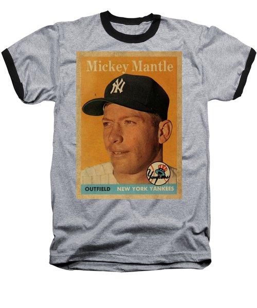 1958 Topps Baseball Mickey Mantle Card Vintage Poster Baseball T-Shirt by Design Turnpike
