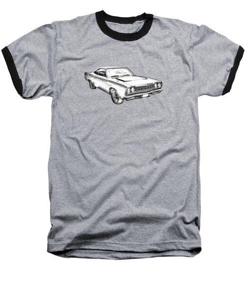 1968 Plymouth Roadrunner Muscle Car Illustration Baseball T-Shirt by Keith Webber Jr