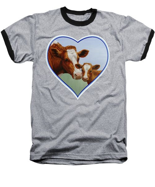 Cow And Calf Blue Heart Baseball T-Shirt by Crista Forest