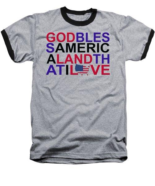 God Bless America Baseball T-Shirt by Mal Bray