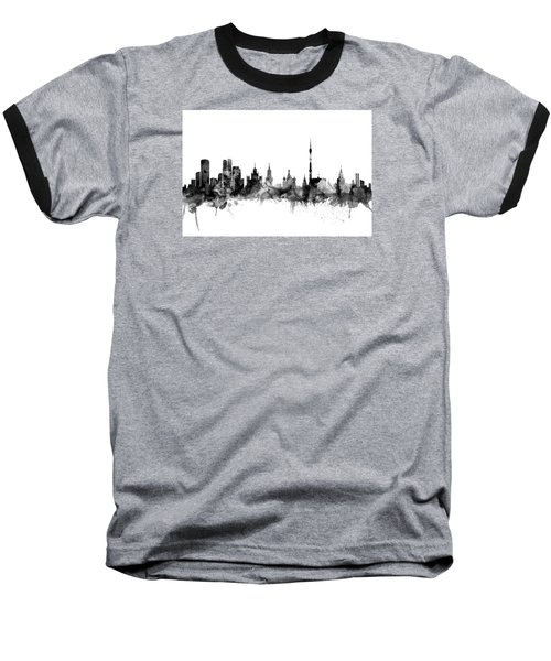 Moscow Russia Skyline Baseball T-Shirt by Michael Tompsett