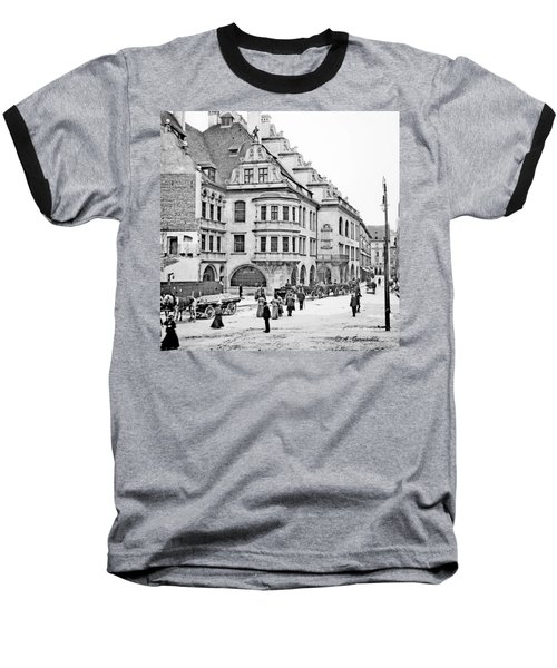 Baseball T-Shirt featuring the photograph Munich Germany Street Scene 1903 Vintage Photograph by A Gurmankin