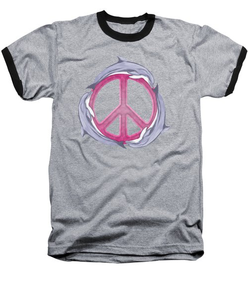 Dolphin Peace Pink Baseball T-Shirt by Chris MacDonald