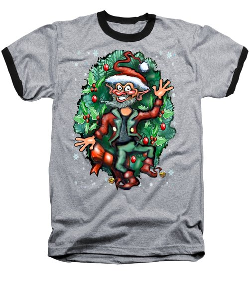 Christmas Elf Baseball T-Shirt by Kevin Middleton