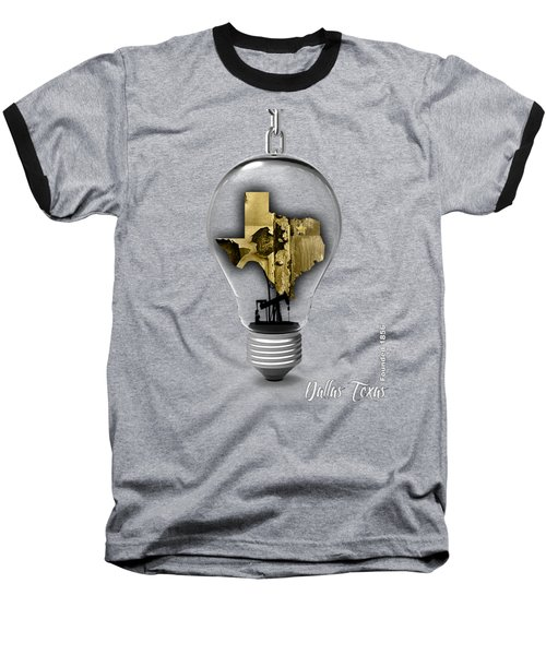 Dallas Texas Map Collection Baseball T-Shirt by Marvin Blaine
