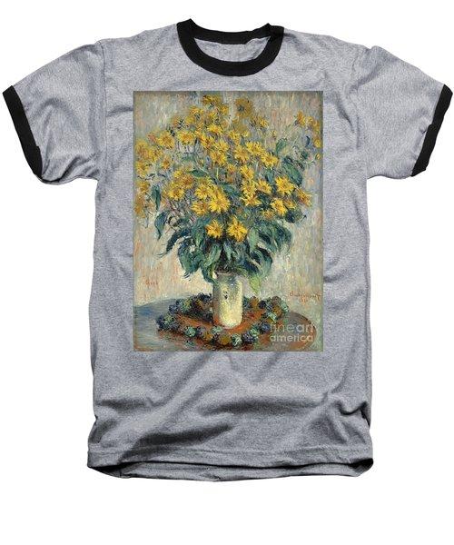 Jerusalem Artichoke Flowers Baseball T-Shirt by Claude Monet