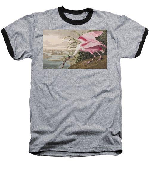 Roseate Spoonbill Baseball T-Shirt by John James Audubon