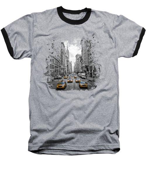 5th Avenue Yellow Cabs Baseball T-Shirt by Melanie Viola
