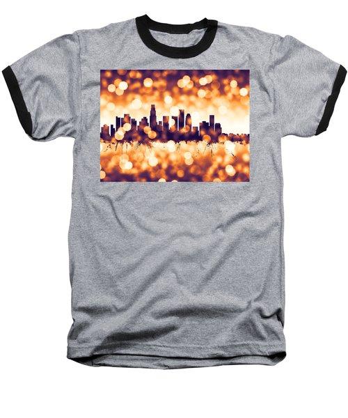 Los Angeles California Skyline Baseball T-Shirt by Michael Tompsett
